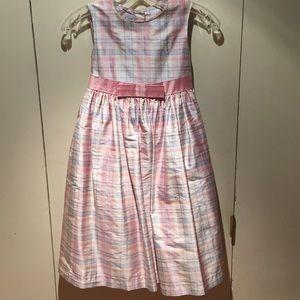 Talbots Silk Taffeta Pastel Plaid Dress - Size 7